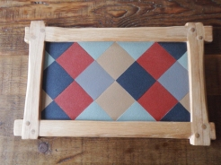 Made to order......Oak Harlequin Pin-Board made using Linoleum self healing board H90 x W50 cm £145 (all shapes cut by Hand)